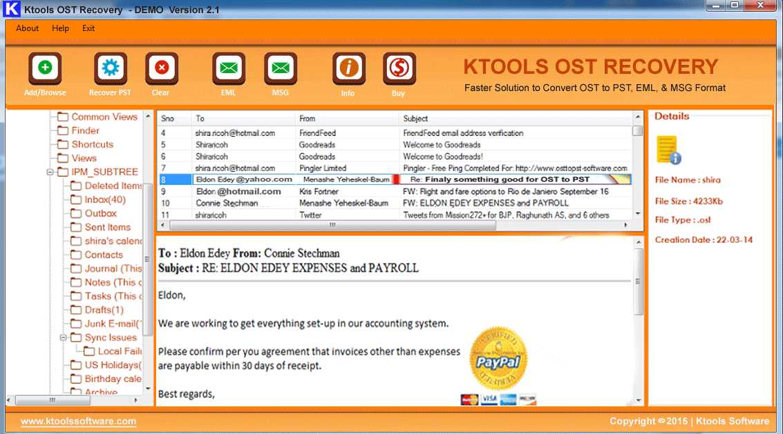 Microsoft Exchange OST to PST Converter Screenshot